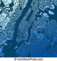 New York City Manhattan Two Tone Map, Vector Outline...