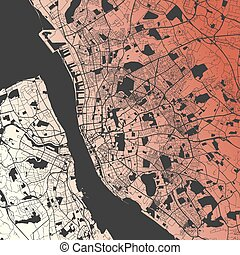 Liverpool Two-Tone Map Artprint, Vector Outline Version,...
