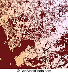 Shenzen Two-Tone Map Artprint, Vector Outline Version, ready...