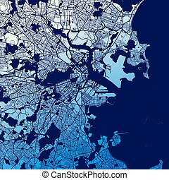 Boston Two-Tone Map Artprint, Vector Outline Version, ready...