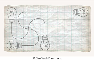 Crumpled graph paper and bulbs