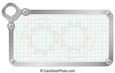 Metal frame for your text with graph paper and speech bubble