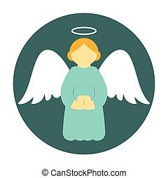 Christmas angel icon flat. Holy angel praying illustration