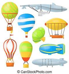 Set air balloons and airships. - Set of air balloons with...