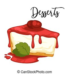 Delicious sweet dessert. Vector cartoon Illustration