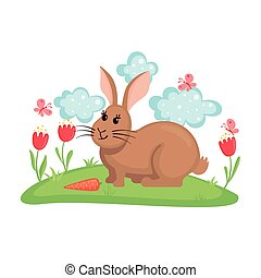 Cute bunny on lawn with flowers and butterflies. - Cute...