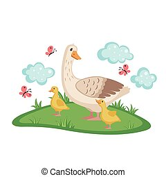 Cute goose with goslings. - Cute goose with goslings and...