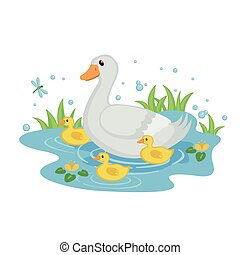 Cute mother duck with ducklings. - Cute mother duck with...