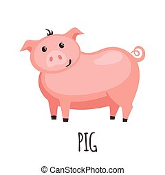 Cute pig in flat style.