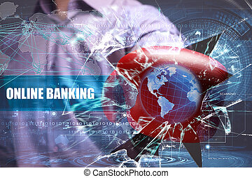 Business, Technology, Internet and network security. online banking