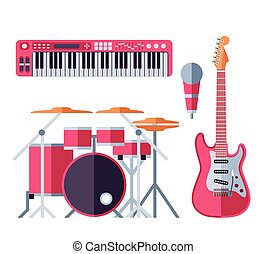 Vector musical instruments flat icons for music group