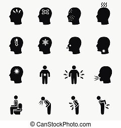 Diseases and sick icons. Vector set of symptom headache and...