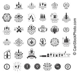 Vector logos for beer house, bar or pub. Set of emblems,...