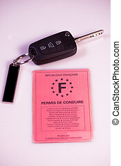 Car keys and drivers license on white background