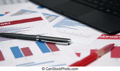 Office Desktop With Business Items, Stock Exchange...
