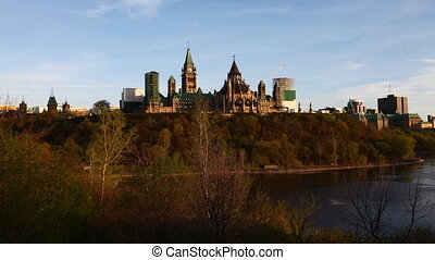 A timelapse view of Canada's Parliament on a hill -...