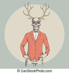 Vector skull illustration - Vector skull with deer horn...