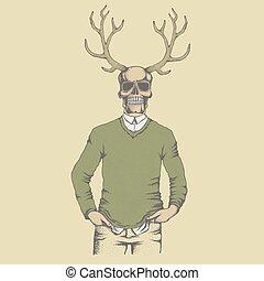 Vector skull illustration - Vector skull with deer horn in...