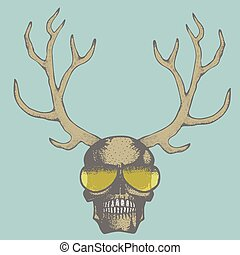 Vector skull illustration - Vector skull with deer horn...