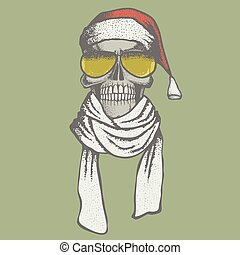 Vector skull illustration - Vector Christmas skull...