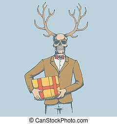 Vector skull illustration - Vector skull with deer horn and...