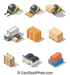 Storage equipment isometric icons set. It includes vehicles,...
