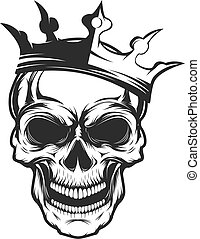 Skull with crown. Design element for emblem, badge, sign, t-shir
