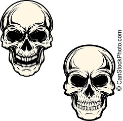 Set of human skulls isolated on white background. Design...