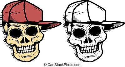 Skull in baseball hat with halftone effect. Design element for e