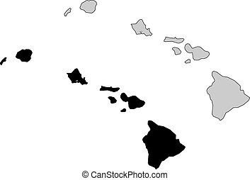 Hawai map. Black and white. Mercator projection.