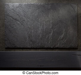 stone and slate on table - stone and slate background...