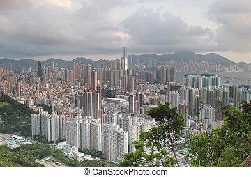 sunset over Kowloon and Hong kong sky - Hong Kong...