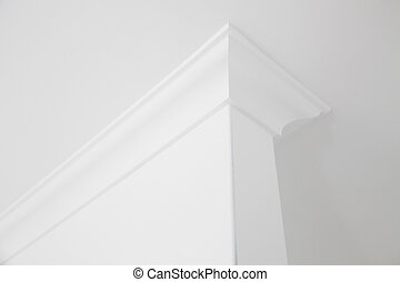 White cornice - Close-up of ceiling cornice in white color