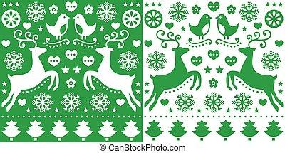 Christmas green greetings card pattern with reindeer - folk...