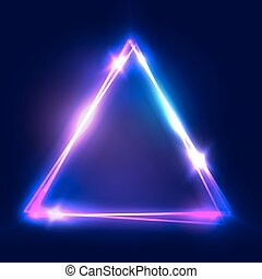 Neon sign. Triangle background. Glowing electric abstract...