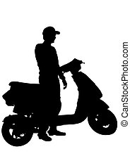Man on scooter on white