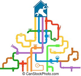 Colored vector water pipes