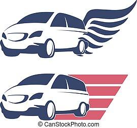 Minivan cargo delivery vector symbol set