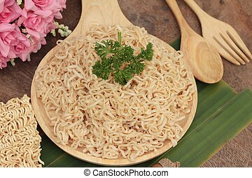 Instant noodles at blanched and dry instant noodle. -...