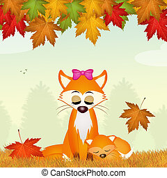 red fox in autumn - illustration of red fox in autumn