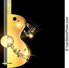 background light golden guitar - dark background and...