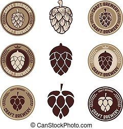 hop - Set of Hop craft beer sign symbol label element....