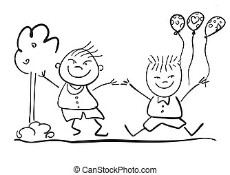 Two Happy Kids with Ballon, Friendship Symbol Sketch