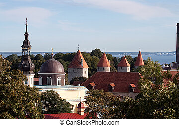 Tallin - Panoramic view of old city of Tallinn, Estonia