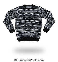 sweater for men with christmas pattern isolated on white