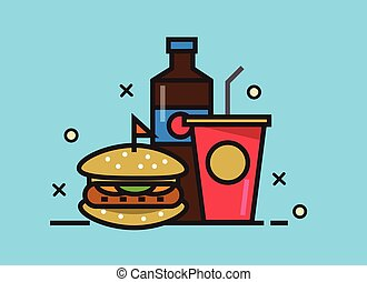 Burger and cola drink.