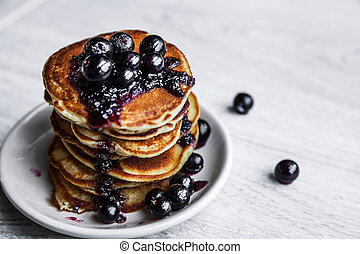 Pancakes with jam and currants