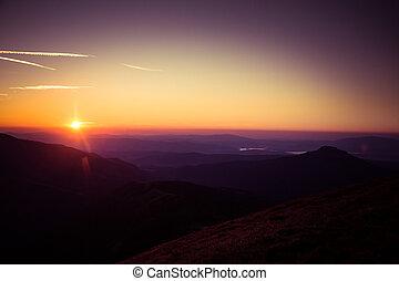 bonito, montanhas, pôr do sol, vista
