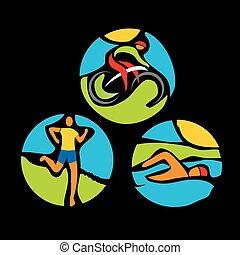 Triathlon race icons - Stylized drawing of Three triathlon...