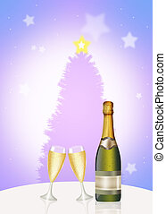 wine and glasses for Christmas - illustration of wine and...